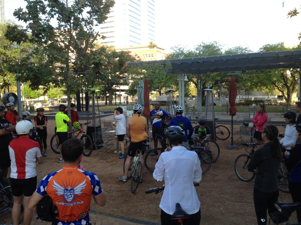 We started off the ride at Market Square Park downtown with intros and a brief introduction from State Senator Rodney Ellis (on his birthday!)