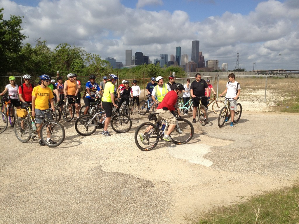 Bayou Bikers Ride - April 7, 2013 - East of Downtown, just on the north side of Buffalo Bayou where the trail ceases to exist.