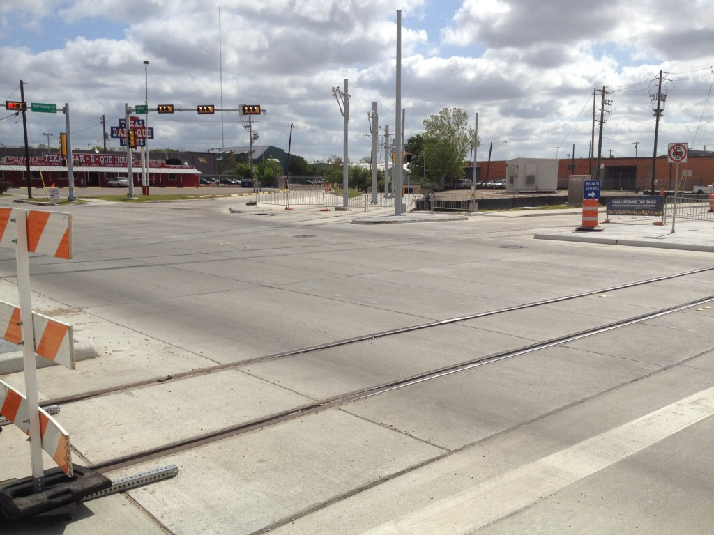 Where the East End and Southeast Light Rail Lines diverge just past the Dynamo Stadium. Both are expected to be in service next summer (2014).